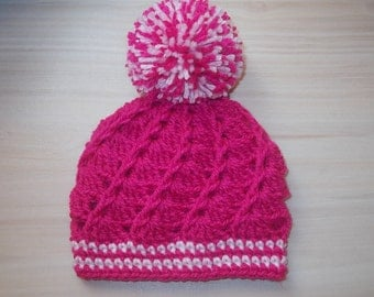 Pom pom girl hat, hot pink baby hat, crochet baby hat, newborn pom pom hat, newborn girl hat, take home girl, baby pom pom hat