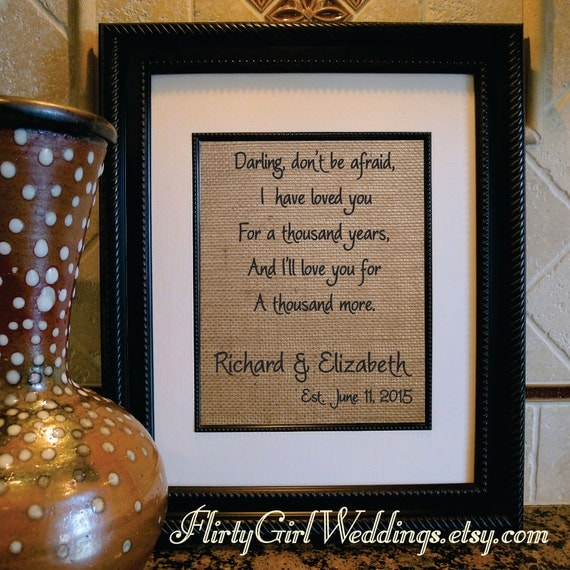 17th Anniversary Gift For Wife: A Thousand Years Song Lyrics Print Christina Perri Song