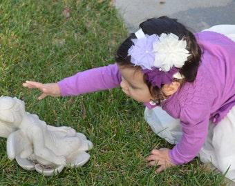 Plum, Lilac, and Cream Pearl Shabby Flower Headband