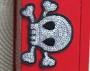4pcs/lot  sequin  skull iron on patch   7.5x5.5cm