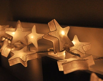 35 LED  White Stars Paper Lantern String Lights for Party x'mas Wedding and Decorations