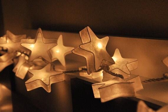 Paper Lantern String Lights Wedding : 20 LED White Stars Paper Lantern String Lights for Party