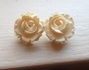 Vintage bone rose earrings with post backs