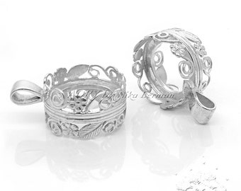 1pcs Double-Sided 925 Sterling Silver Flower Bezel for TWO 16mm Cabochons, Made in Israel, (code:1025)