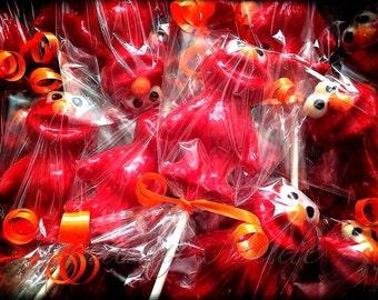 Elmo lollipops. Elmo party favors. Elmo birthday favors. Elmo birthday
