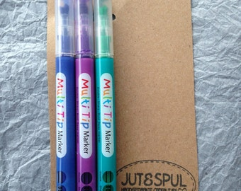 Markers, 3 ways writing (3 way), 3 colors, blue purple and green (Blue, Purple, Green)