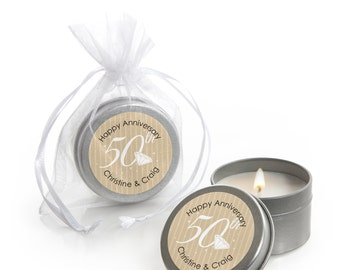 50th Anniversary Candle Tin Party Favors - 12 Count