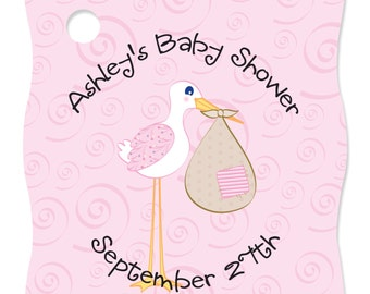 20 Stork Baby Girl Personalized Party Tags - Baby Shower DIY Craft Supplies
