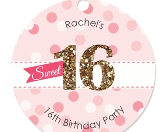 Sweet 16 Tags -  Craft Tags for a Birthday Party - 20 Count