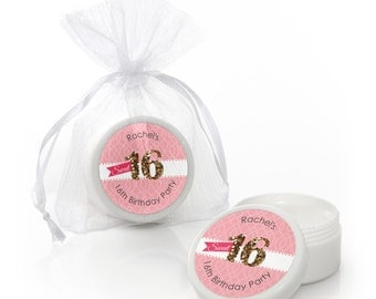 Sweet 16 Lip Balm Party Favors -  Birthday Party Supplies - 12 Count
