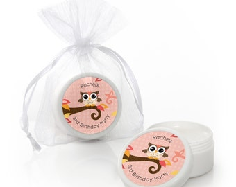Girl Owl Lip Balm Party Favors - Baby Shower and Birthday Party Supplies - 12 Count