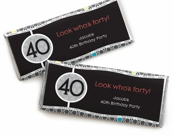40th Birthday Custom Candy Bar Wrappers - Personalized Birthday Party Favors - 24 Count