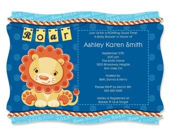 Lion Boy Invitations - Baby Shower Supplies - Set of 12