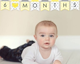 Yellow Chevron First Year Banner - 12 Month by Month Photo Banner for Baby's First Year - Monthly Photo Prop