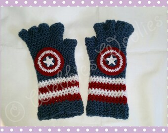 Children's Crocheted Gloves Inspired By Captain America in The Avengers and The Winter Soldier Great Gift Idea for Marvel Fans by Tracy