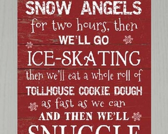 First We'll Make Snow Angels Buddy The Elf  Framed Decor Framed Art Picture 16x20""
