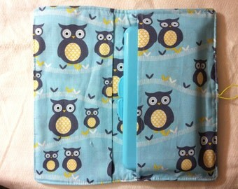 Diaper changing clutch = diaper bag accessory wallet = button closure, cotton print = 2 pocket