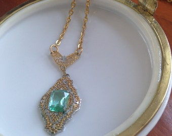 Art Deco  Two Toned Filigree Necklace with Faceted Glass Aquamarine