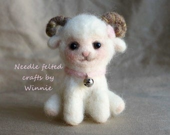 White Lamb OOAK handmade Needle felted wool sheep