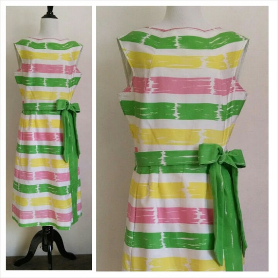 vintage pastel sundress pink yellow green colorful