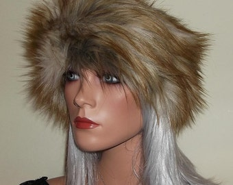 Long Haired Ginger Brown Fur Headband with Beige Highlights made in Soft Faux Fur