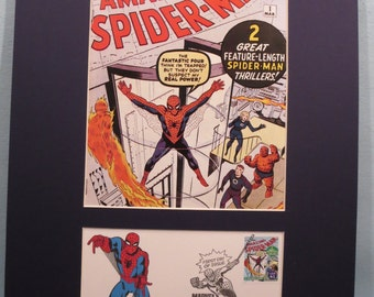Marvel Comics Superheroes - Spiderman and the Fantastic Four and the First Day Cover of the Spiderman stamp