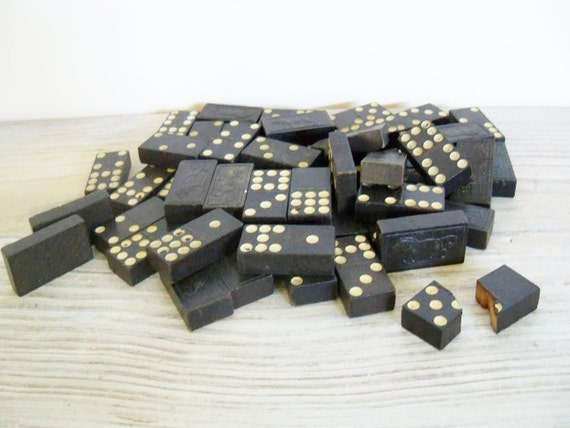 Vintage Dominoes Double Nine Lion Design Vintage Game Wooden Dominoes 1950s 53 Pcs Vintage Toy Dominoes