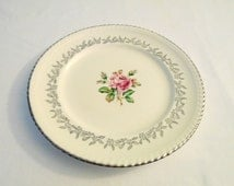 Silver trim 10 inch dinner plate made in canada vintage china 1950s