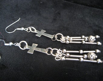 Silver Cross Dangly Earrings