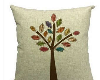Linen multicolored tree pillow cover