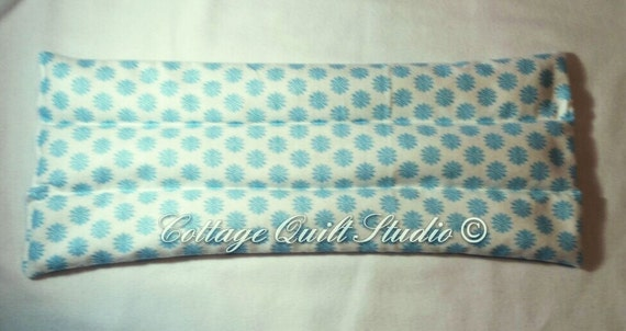 Large Flannel Rice Bag. White with blue snowflakes