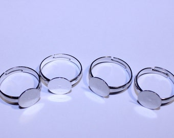 Adjustable Ring Base, Flat Ring Base, Pad Ring Base, Silver Ring Blank, Set of 4 Adjustable Ring Bases