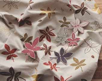Fallen Leaves Pattern Linen and Cotton Blended Fabric