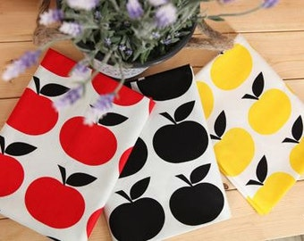 Scandinavian Style Simple Apple Pattern Cotton Fabric - 3 Colors Selection