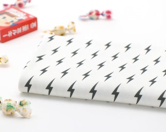 Lightening Bolt Pattern 40s Cotton Interlock Knit Fabric by Yard (White Ivory)