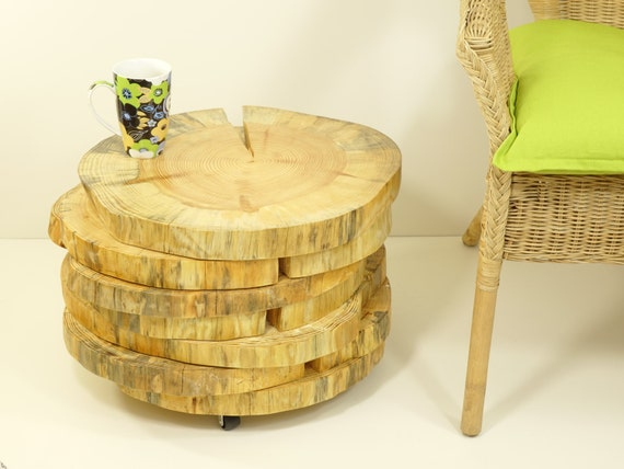 wooden slices table on rolling casters tree by freetreestudio. Black Bedroom Furniture Sets. Home Design Ideas