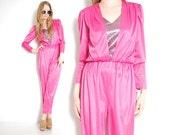 vintage jumpsuit, 80s jumpsuit, pink jumpsuit, disco jumpsuit, 80s 1980s, vintage romper, draped jumpsuit, 80s disco, 80s outfit, m