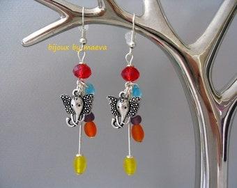 Costume jewelry earrings dangling multicolour elephants