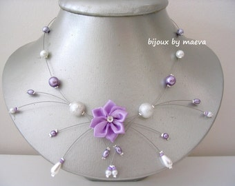 wedding jewelry necklace for wedding flower lilac and white pearls