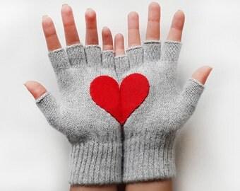 VALANTINE'S Gif Gloves Heart  Fingerless Grey Gloves Heart Gloves For Him For Her Red Heart Special Gift Romantic gloves best selling item
