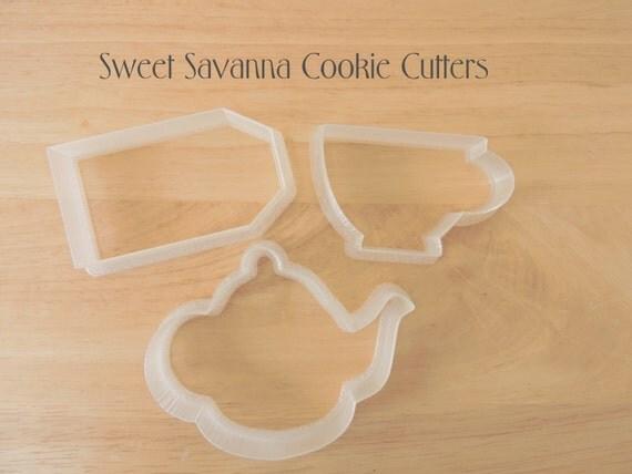 tea set tea pot tea bag tea cup cookie cutters from sweetsavannacookies on etsy studio