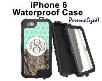 Monogram iPhone 6 6 Plus Case Personalized Real Tree Camo Blue Lattice Monogrammed Phone Case iPhone 6 Water Resistant Heavy Duty Case #2315