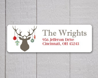 Christmas Return Address Labels, Deer Antlers Return Address Stickers, Holiday Address Stickers (#328)