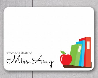 Teacher Note Cards - 24 pack, Personalized Flat Note Cards, Teacher Gifts, Printed without Envelopes (NC2)