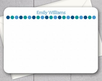 Blue Polka Dot Note Cards - 12pk, Custom Flat Note Cards, Printed with Envelopes (NC17)