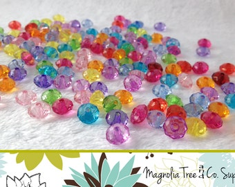 Mixed Color Clear Transparent Acrylic Faceted Beads, 8mm, Oval Beads, Spacer Beads, Bottle cap beads, 100 pcs (BSM-314)