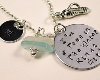 Personalized Hand Stamped Necklace Hand Stamped Jewelry Beach Jewelry - GCCN-03