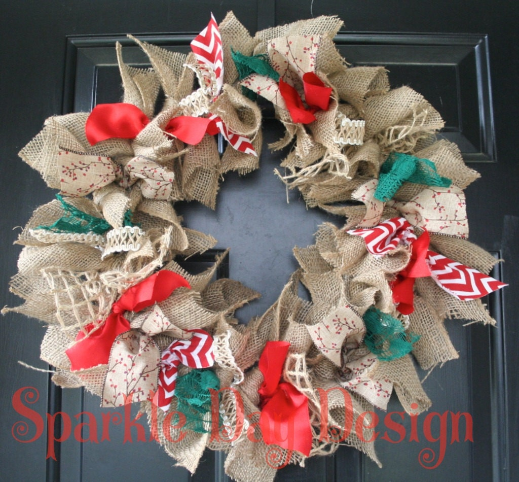 Christmas Wreath Burlap Holiday Wreath Red and Green Christmas Decoration Holiday Door Decoration Rustic Holiday Wreath Rag Wreath