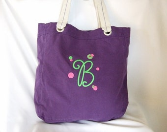 Cotton grommet tote with Name and monogram