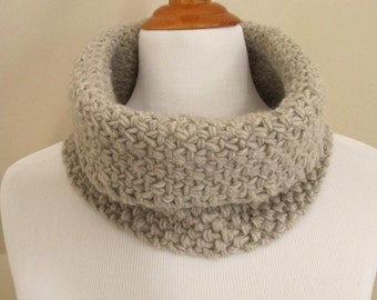 Chunky Alpaca grey hand knit wool Cowl Neck warmer Infinity scarf scarfette Super Soft Baby Alpaca wool yarn